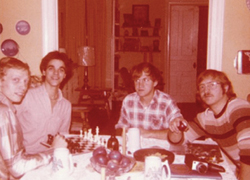 Teenaged Rotary International exchange student Marcio Silva de Melo with classmate Dave Sherwood and Rotary host brothers Francis and William in 1972.