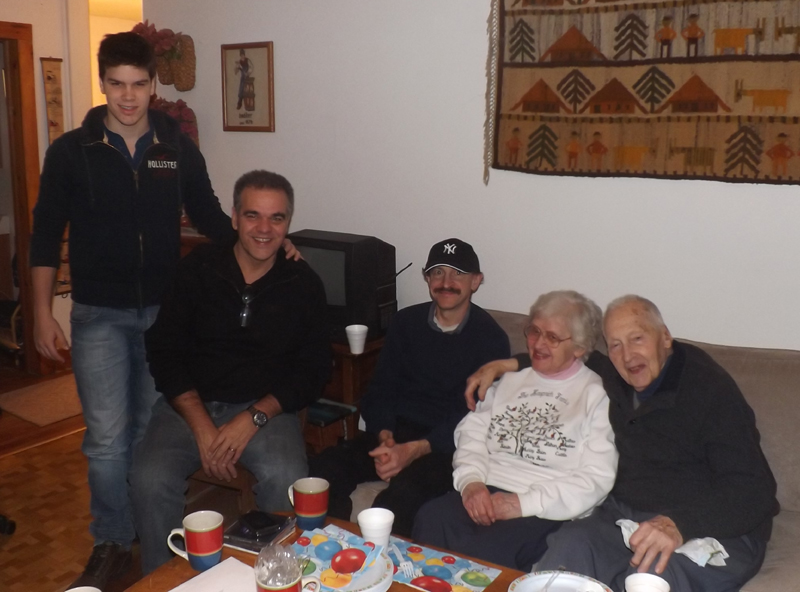 Marcio introduces his son Gabriel to host parents Audrey & Donald Hauprich and host brother Frank.
